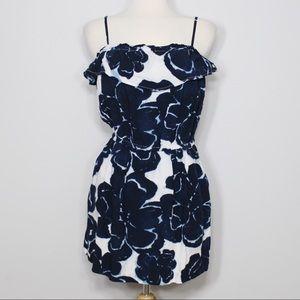 J. Crew Blue Tie-Dyed Floral Dress
